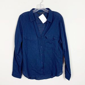 Zara | button front polka dot blouse blue size XL
